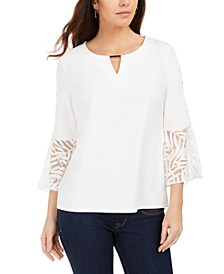 Mixed-Media Bell-Sleeve Keyhole Top, Created For Macy's
