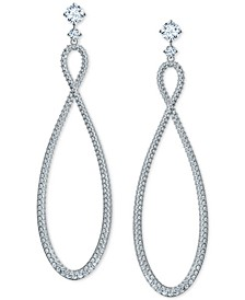 Silver-Tone Crystal Infinity Symbol Drop Earrings