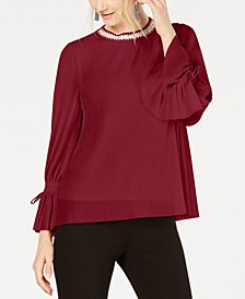 Petite Textured-Stripes Embellished-Neck Top, Created for Macy's
