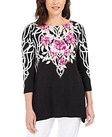 Printed Handkerchief-Hem Tunic Top, Created for Macy's
