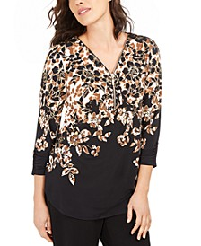 Printed Zip-Neck Top, Created for Macy's