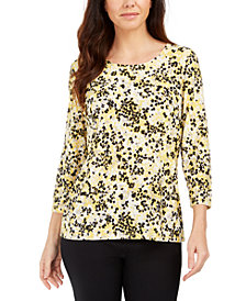 JM Collection Printed Gel Dot 3/4-Sleeve Top, Created for Macy's