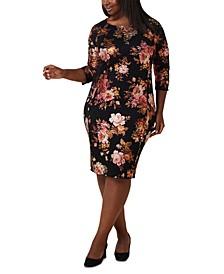 Plus Size Lace Foil Flower-Print Dress