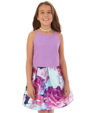 Bcx Big Girls 3-Pc. Lace & Floral-Print Dress Set w/ Necklace