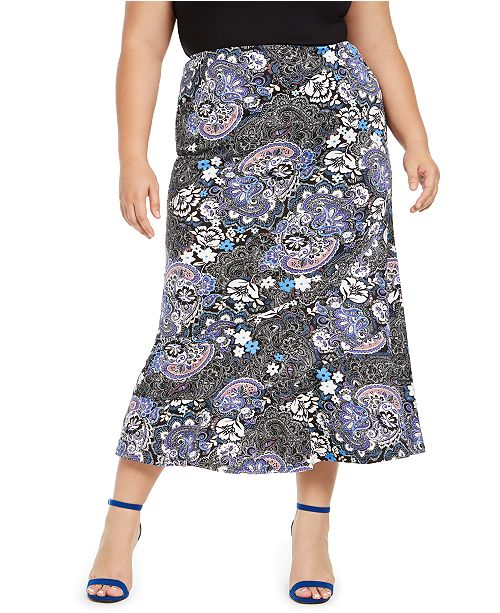 NY Collection Plus Size Printed Midi Skirt