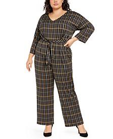 Plus Size Printed Tie-Front Gaucho Jumpsuit