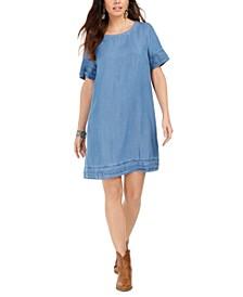 Fringed Denim T-Shirt Dress, Created for Macy's