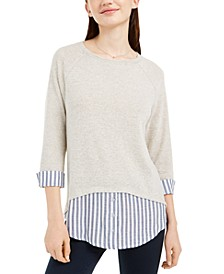 Juniors' Striped Faux-Layered Cuffed Sweater