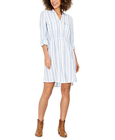 Style & Co Striped Button-Front Linen-Blend Shirtdress, Created for Macy's
