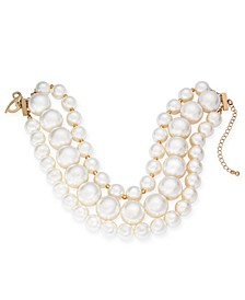 "Gold-Tone Imitation Pearl Multi-Strand Choker Necklace, 13"" + 5"" extender, Created For Macy's"