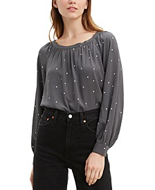 Lily Long-Sleeve Polka-Dot Top