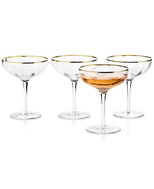 Martha Stewart Collection Clear Optic Coupe Glasses with Gold-Tone Rims, Set of 4, Created for Macy's