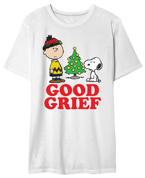 Hybrid Charlie Brown Men's Good Greif Holiday Graphic T-Shirt