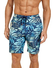 "Men's Baja Hidden Shore Stretch UPF 30 Floral-Print 9"" Board Shorts"