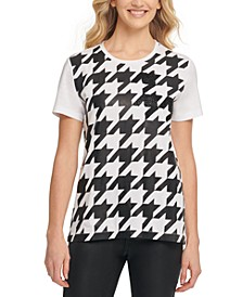 Houndstooth Beaded T-Shirt