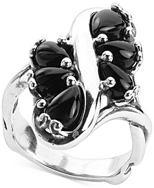 Black Agate Cluster Statement Ring in Sterling Silver