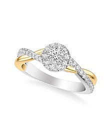 Diamond Halo Engagement Ring (5/8 ct. t.w.) in 14k Two Tone White & Yellow Gold or White & Rose Gold
