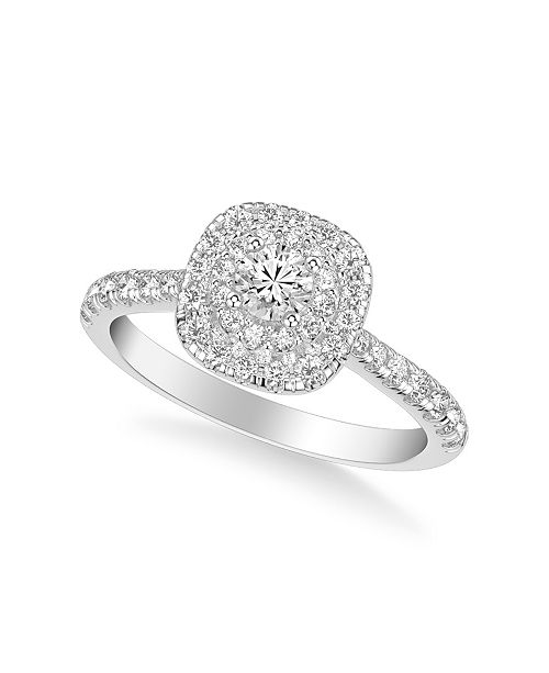Macy's Diamond Halo Engagement Ring (3/4 ct. t.w.) in 14k White, Yellow or Rose Gold