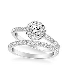 Diamond Halo Engagement Ring and Bridal Set in 14k Rose, Yellow or White Gold
