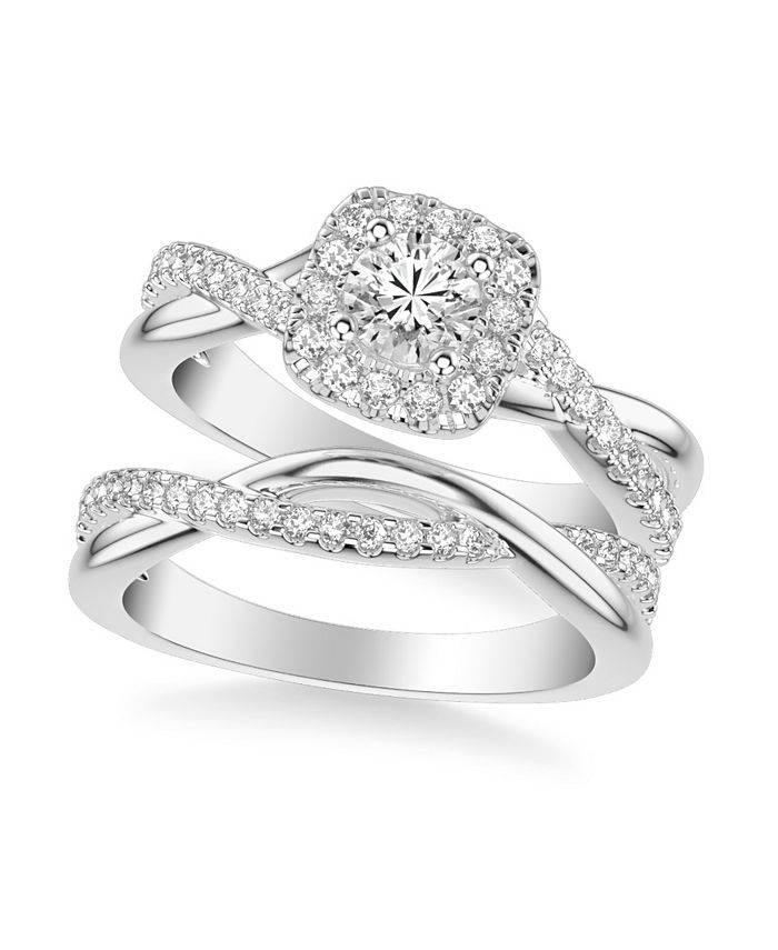 Macy's - Diamond Halo Bridal Set (1 ct. t.w.) in 14k White, Rose or Yellow Gold