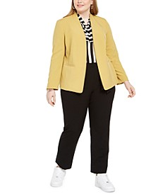 Plus Size Open-Front Jacket, Multi-Stripe Tie-Neck Top & Tie-Waist Pants, Created for Macy's
