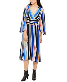 Petite Striped Fit & Flare Dress
