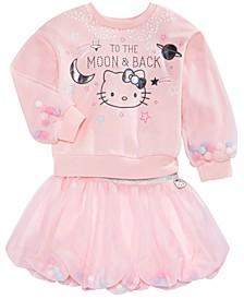 Little Girls Pom Pom Sweatshirt & Bubble Skirt