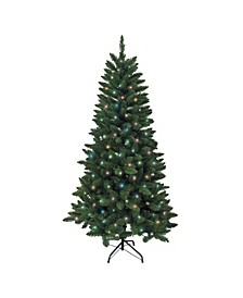 6-Foot Pre-Lit Multi LED Green Pine Tree