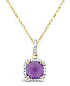 Amethyst (1-1/3 ct. t.w.) and Created White Sapphire (1/6 ct. t.w.) Pendant Necklace in 10k Yellow Gold