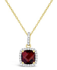 Garnet (2 ct. t.w.) and Created White Sapphire (1/6 ct. t.w.) Pendant Necklace in 10k Yellow Gold. Also Available in Peridot (1-7/8 ct. t.w.)