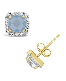 Created Spinel Aquamarine (1 ct. t.w.) and Created White Sapphire (1/5 ct. t.w.) Halo Stud Earrings in 10k Yellow Gold. Also Available in Created White Sapphire and Created Ruby