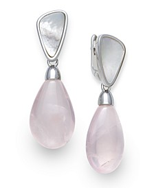 Mother of Pearl and Rose Quartz 21x25mm Drop Earrings in Sterling Silver