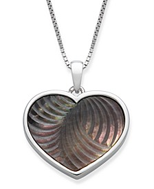 """Black Mother of Pearl 16x13mm Heart Shaped Pendant with 18"""" Chain in Sterling Silver"""