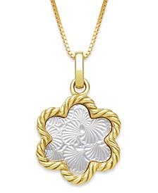 "Engraved Mother of Pearl 13mm Flower Shaped Pendant with 18"" Chain in Gold over Silver"