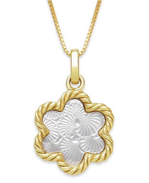 """Macy's Engraved Mother of Pearl 13mm Flower Shaped Pendant with 18"""" Chain in Gold over Silver"""