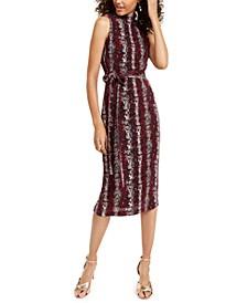 Snake-Embossed Midi Dress
