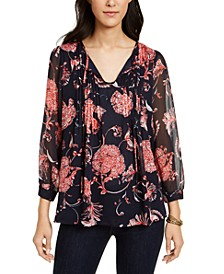 Floral-Print Pintucked Blouse