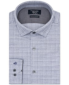 Men's Heritage Slim-Fit Comfort Stretch Medium Gray Check Dress Shirt