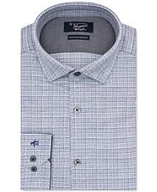 Men's Heritage Slim-Fit Comfort Stretch Medium Gray Check Dress Shirt