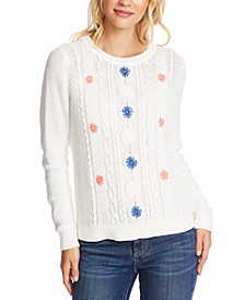 Embroidered Cable-Knit Cotton Sweater