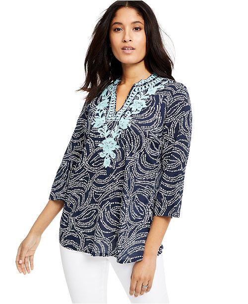 Charter Club Embroidered Printed Split-Neck Top, Created for Macy's