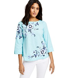 Petite Floral-Embroidered Linen-Blend Top, Created for Macy's