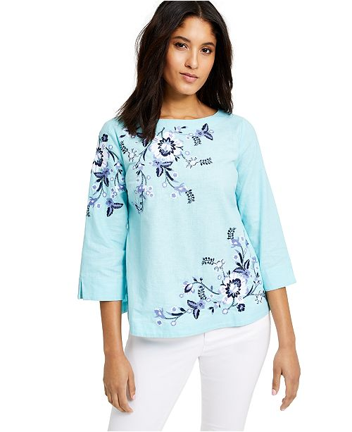 Charter Club Petite Floral-Embroidered Linen-Blend Top, Created for Macy's