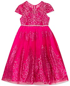 Little Girls Glitter Mesh Dress