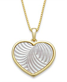 "Mother of Pearl 13mm Heart Shaped Pendant with 18"" Chain in Gold Over Silver"