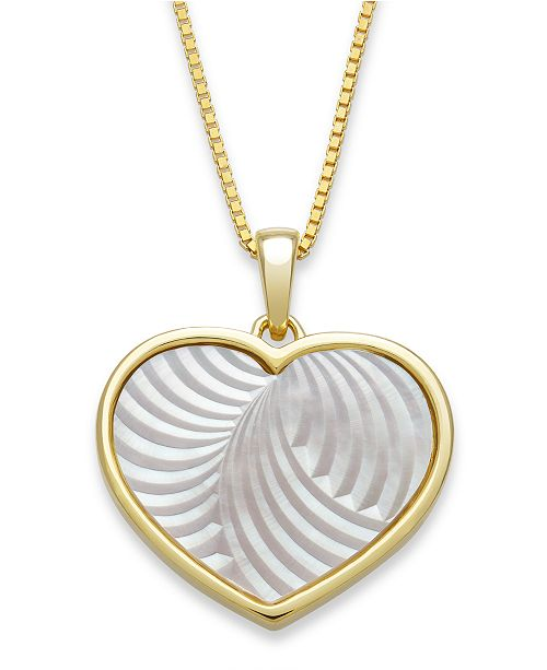 "Macy's Mother of Pearl 13mm Heart Shaped Pendant with 18"" Chain in Gold Over Silver"