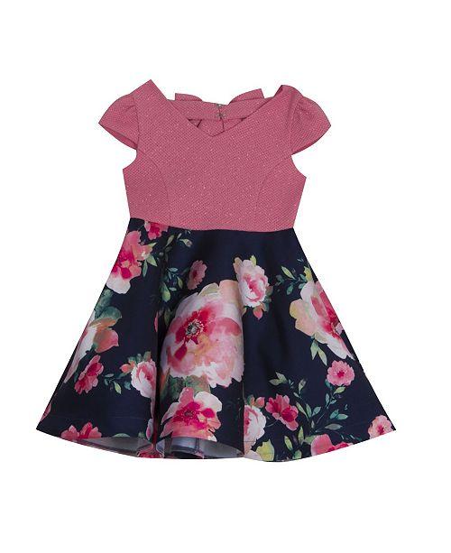 Rare Editions Little Girls Glitter Floral-Print Dress