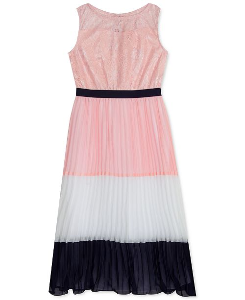 Rare Editions Little Girls Colorblocked Pleated Maxi Dress