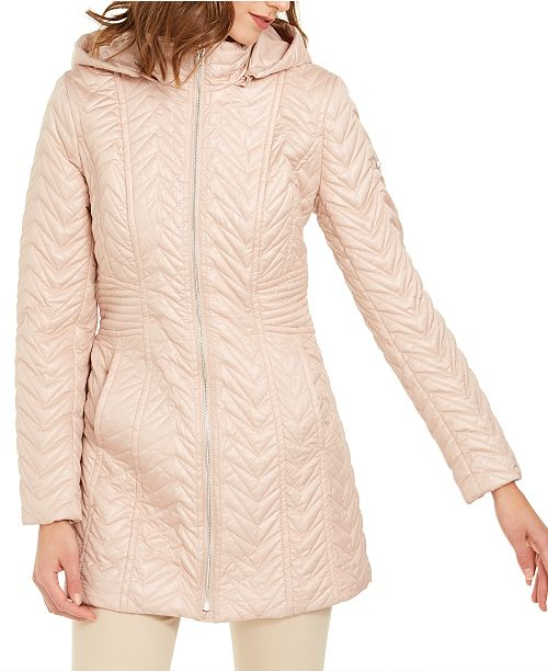 Via Spiga Hooded Water-Resistant Quilted Jacket