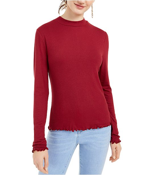 Rebellious One Juniors' Mock-Neck Top